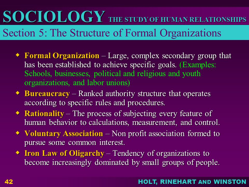 Section 5: The Structure of Formal Organizations