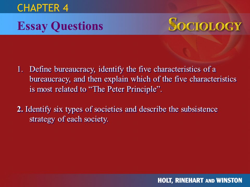 Essay Questions CHAPTER 4