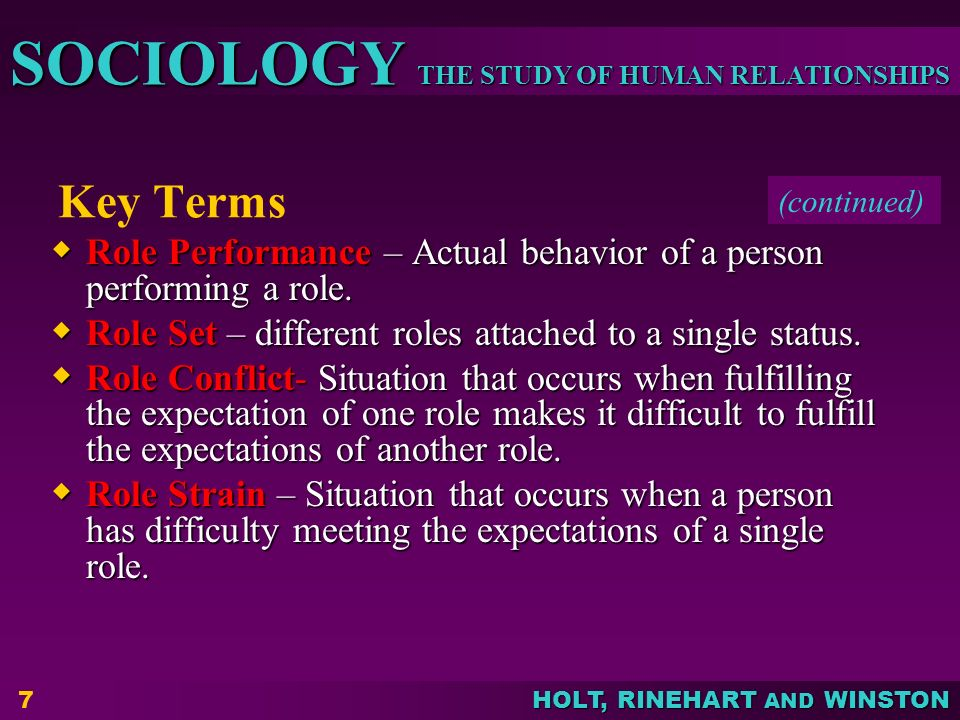 Key Terms (continued) Role Performance – Actual behavior of a person performing a role. Role Set – different roles attached to a single status.