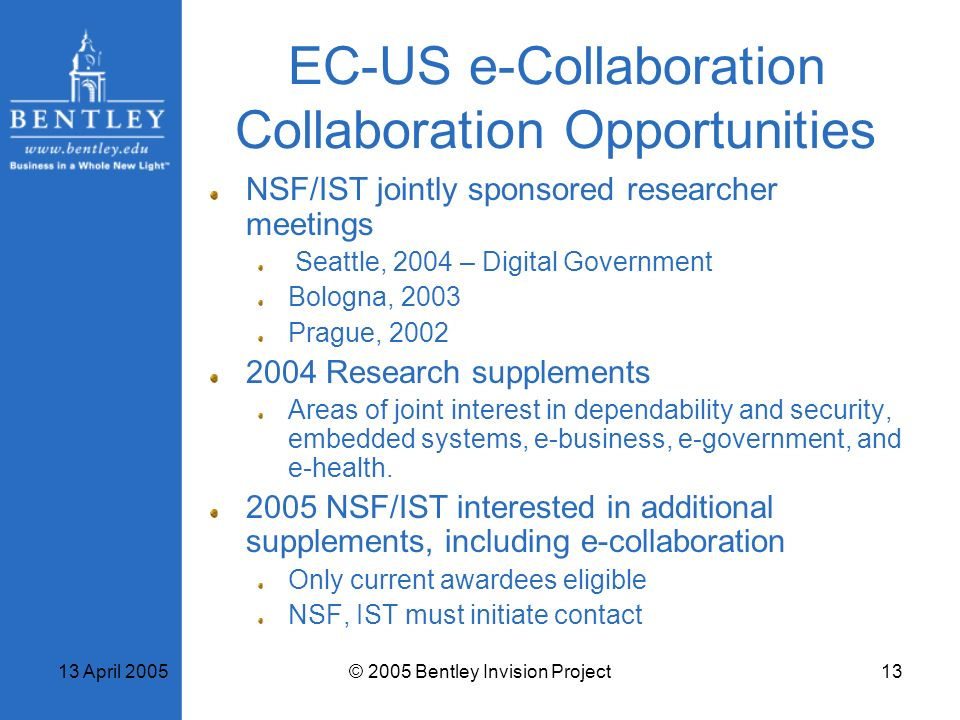 EC-US e-Collaboration Collaboration Opportunities