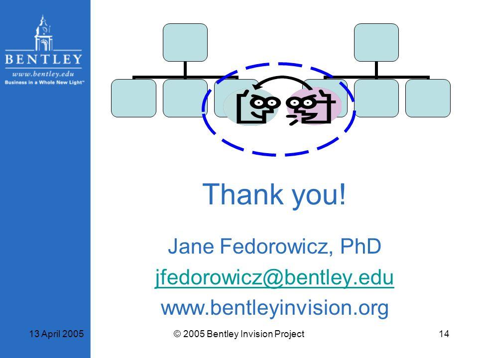 Jane Fedorowicz, PhD jfedorowicz@bentley.edu www.bentleyinvision.org