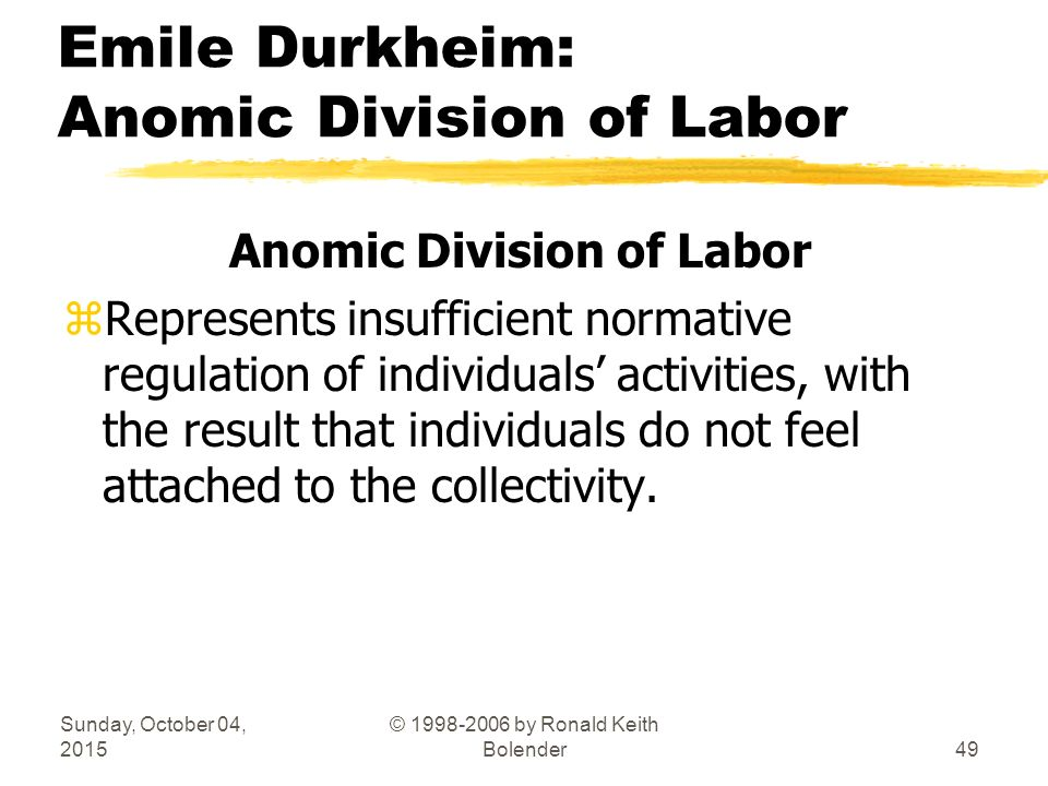 emile durkheim division labor essays The division of labor is hard-wired into our current economy  durkheim (the  division of labor in society) as well as karl marx (alienation)  in this essay, but  the two streams have direct relevance for the division of labor.
