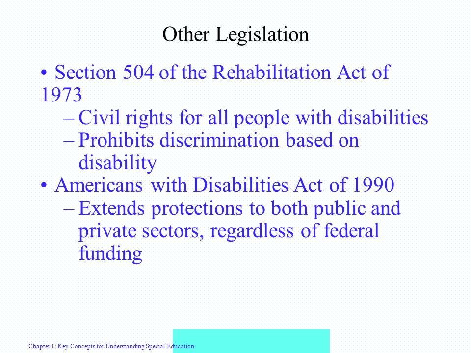the impact of section 504 of Free appropriate public education under section 504 for students with disabilities.