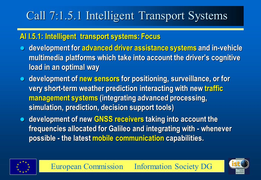 Call 7:1.5.1 Intelligent Transport Systems