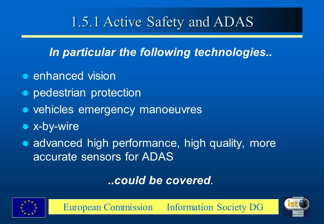 1.5.1 Active Safety and ADAS In particular the following technologies.. enhanced vision. pedestrian protection.