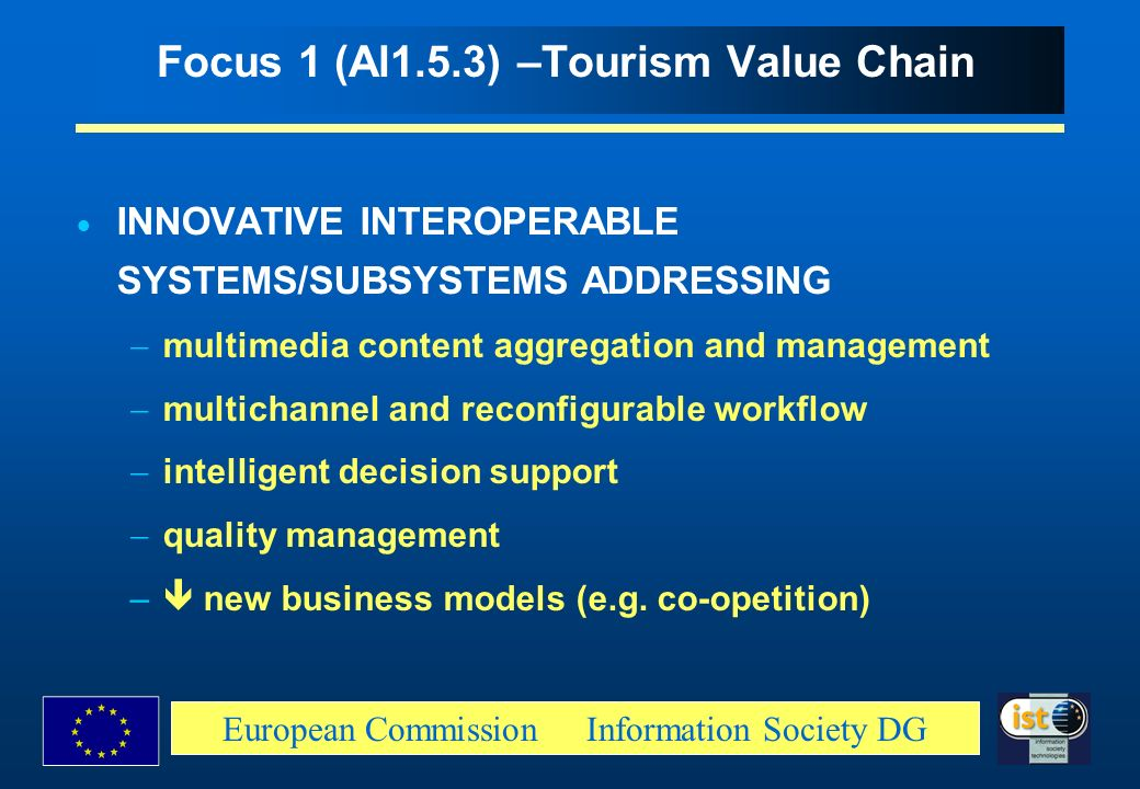 Focus 1 (Al1.5.3) –Tourism Value Chain