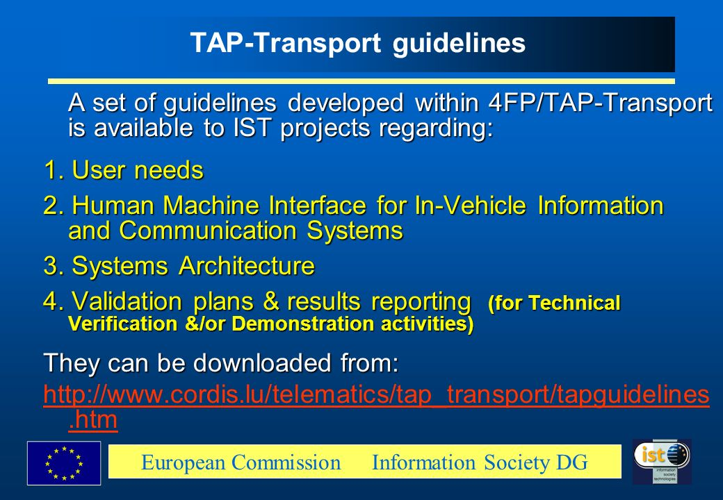 TAP-Transport guidelines