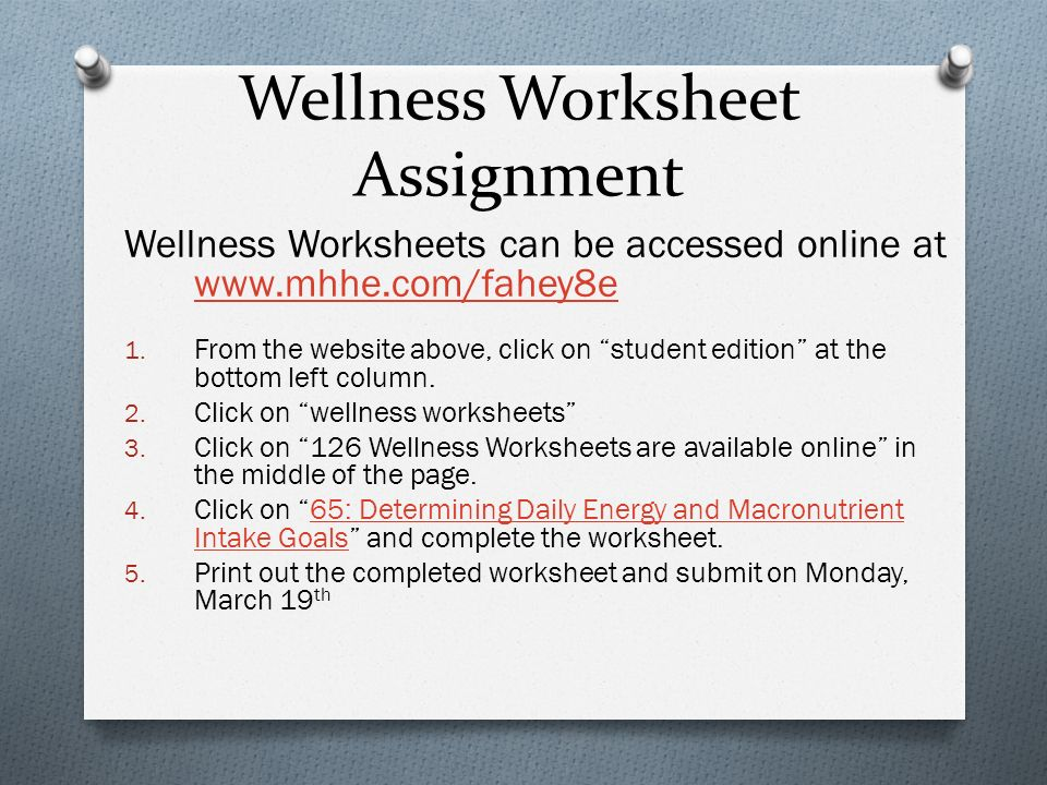Nutrition Basics Chapter ppt download – Wellness Worksheet