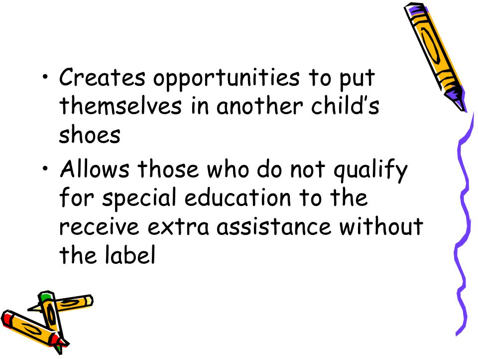 Creates opportunities to put themselves in another child's shoes