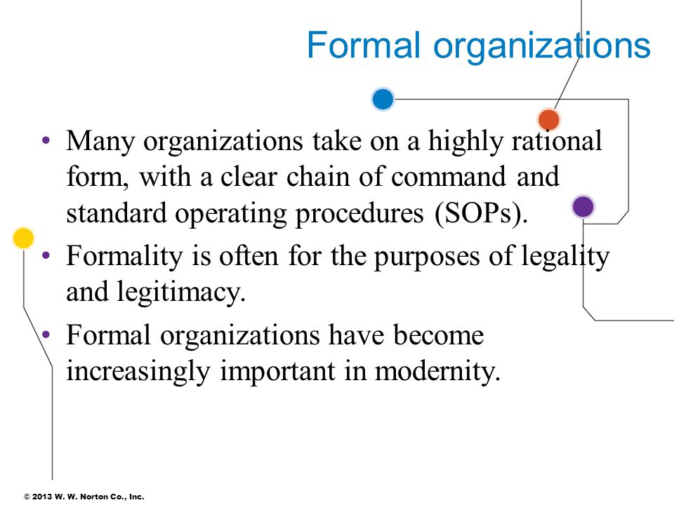 the evolution of formal organizations For more classes visit wwwsnaptutorialcom resources: ch 5, the summing up table on p 121, and figure 5-5 on p 126 in society: the basics and the online library • due date: day 7 [post to the individual forum] • review the following scenario: you work for a formal organization in the united states that has an open, flexible organizational structure as described in figure 5-5 on p 126 .
