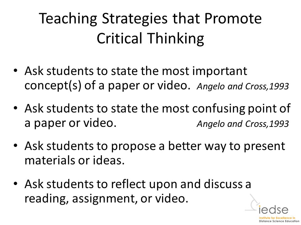 types of questions to encourage critical thinking