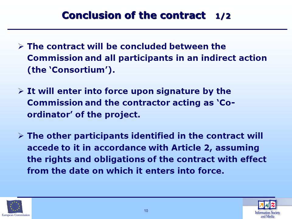 Conclusion of the contract 1/2