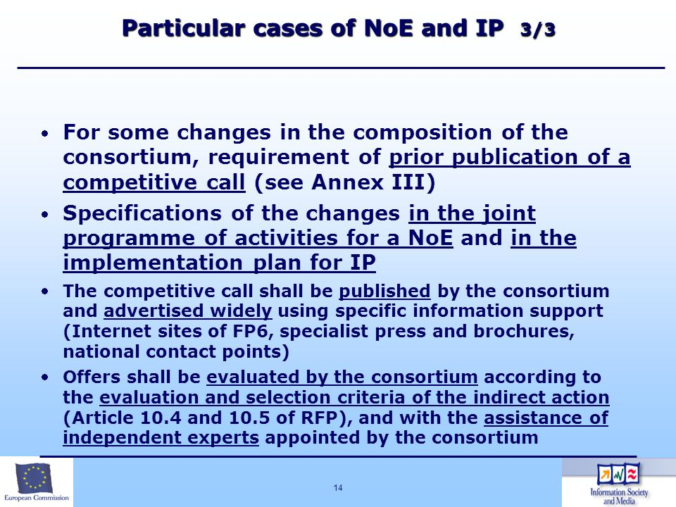 Particular cases of NoE and IP 3/3