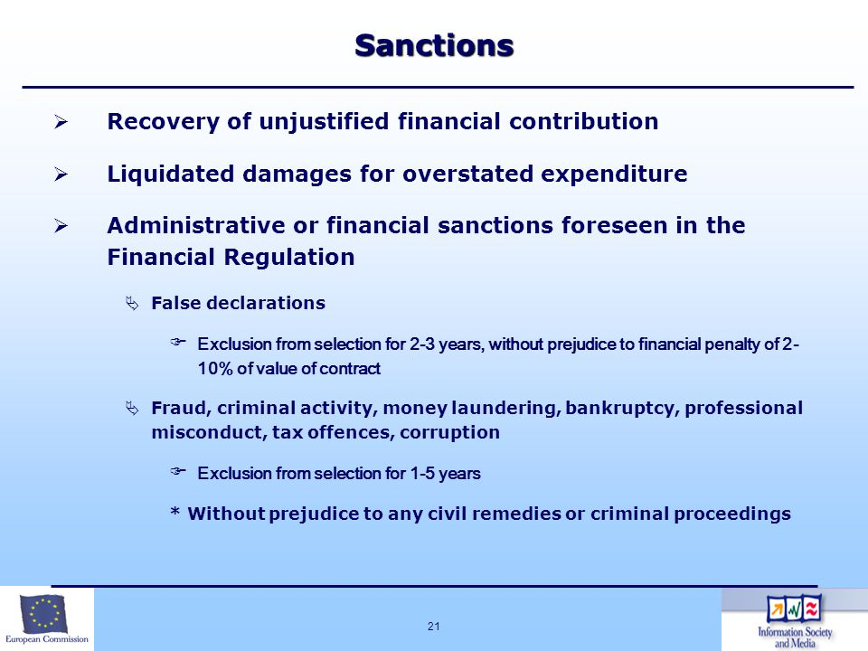 Sanctions Recovery of unjustified financial contribution