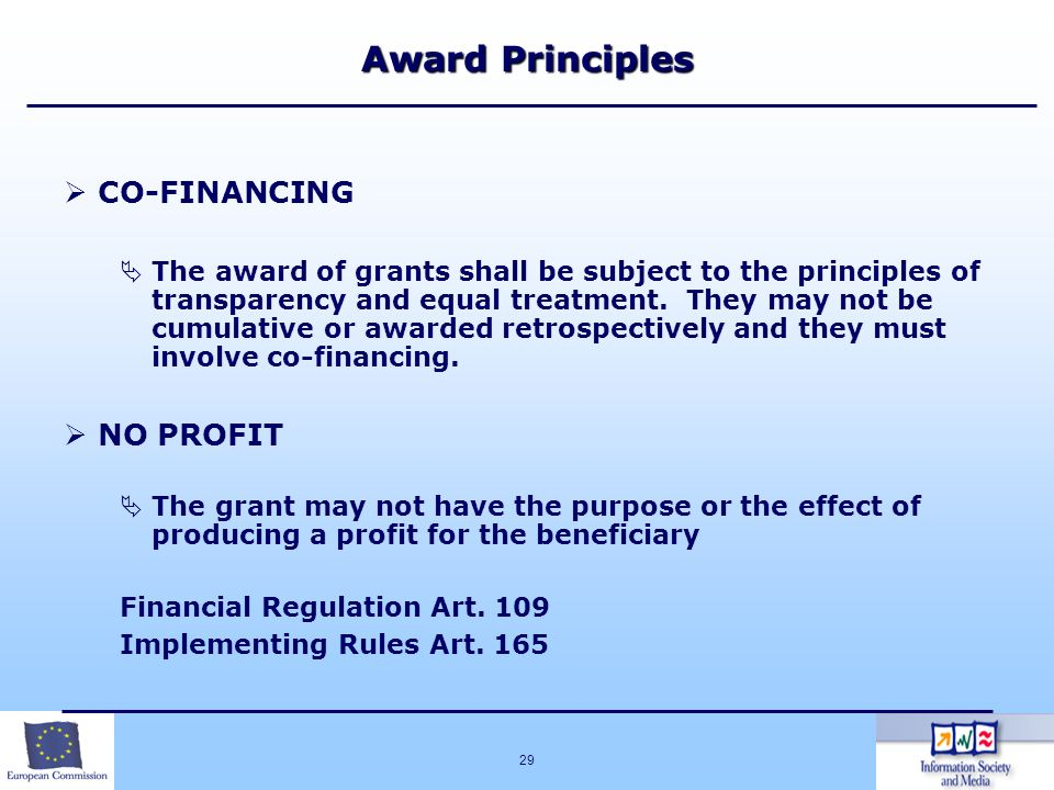 Award Principles CO-FINANCING NO PROFIT