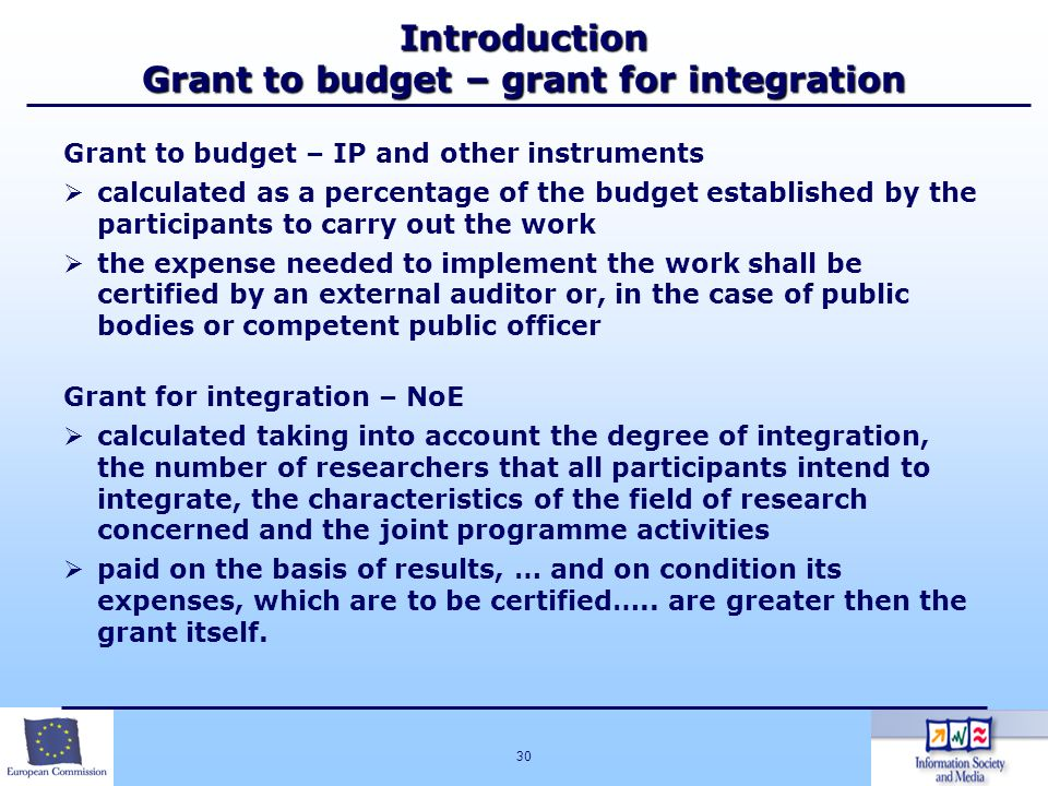 Introduction Grant to budget – grant for integration
