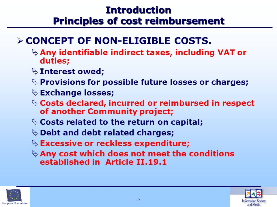 Introduction Principles of cost reimbursement