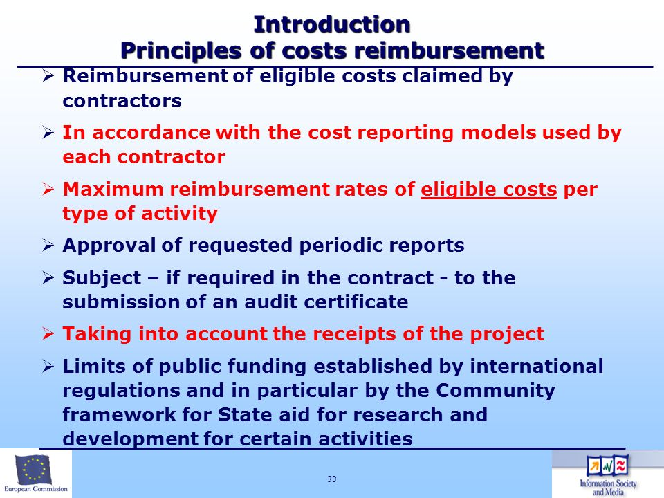 Introduction Principles of costs reimbursement