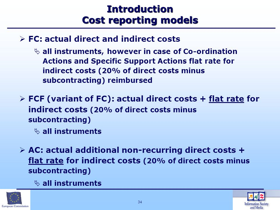 Introduction Cost reporting models