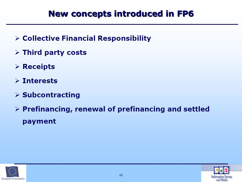New concepts introduced in FP6