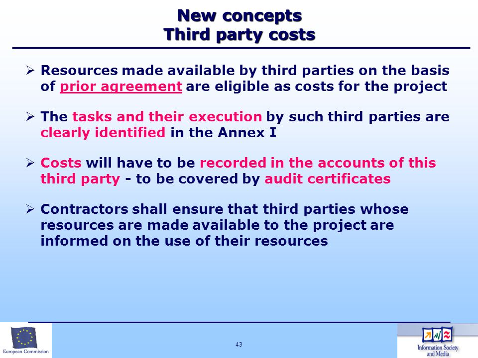 New concepts Third party costs