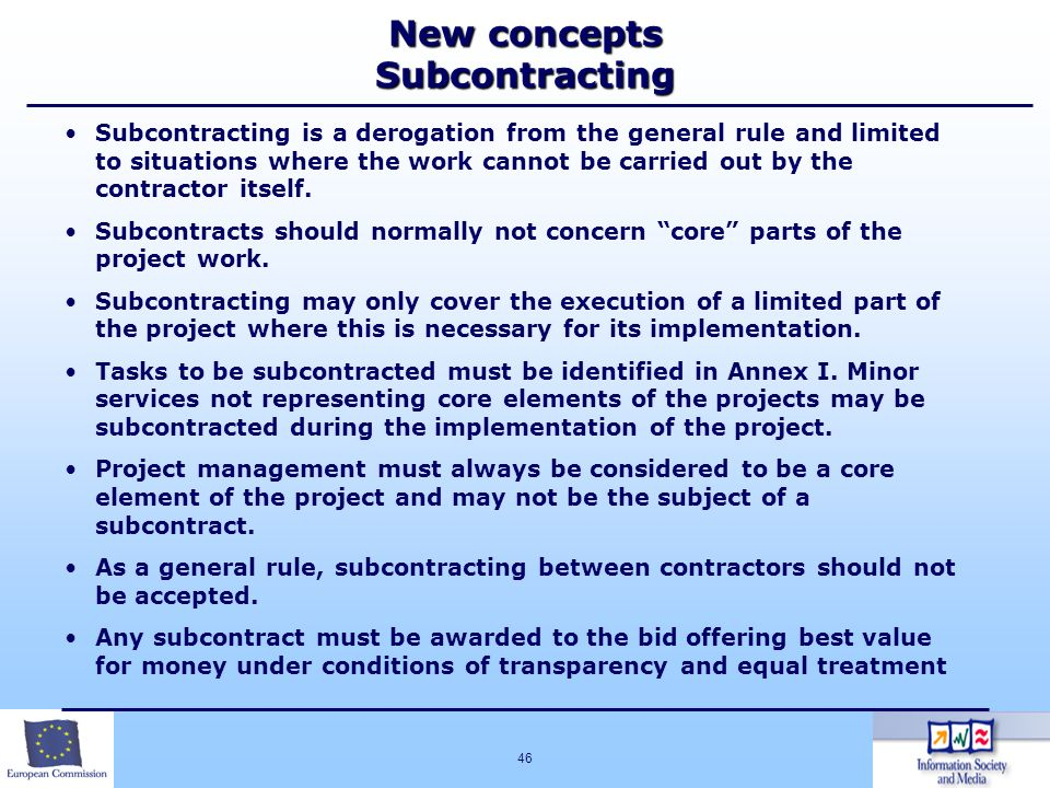 New concepts Subcontracting