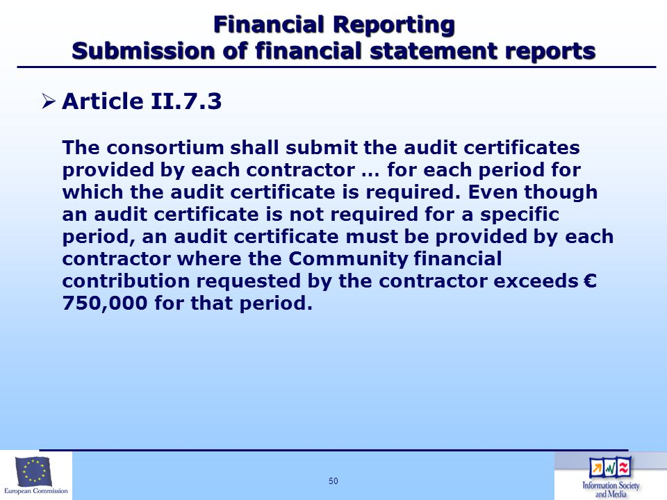 Financial Reporting Submission of financial statement reports