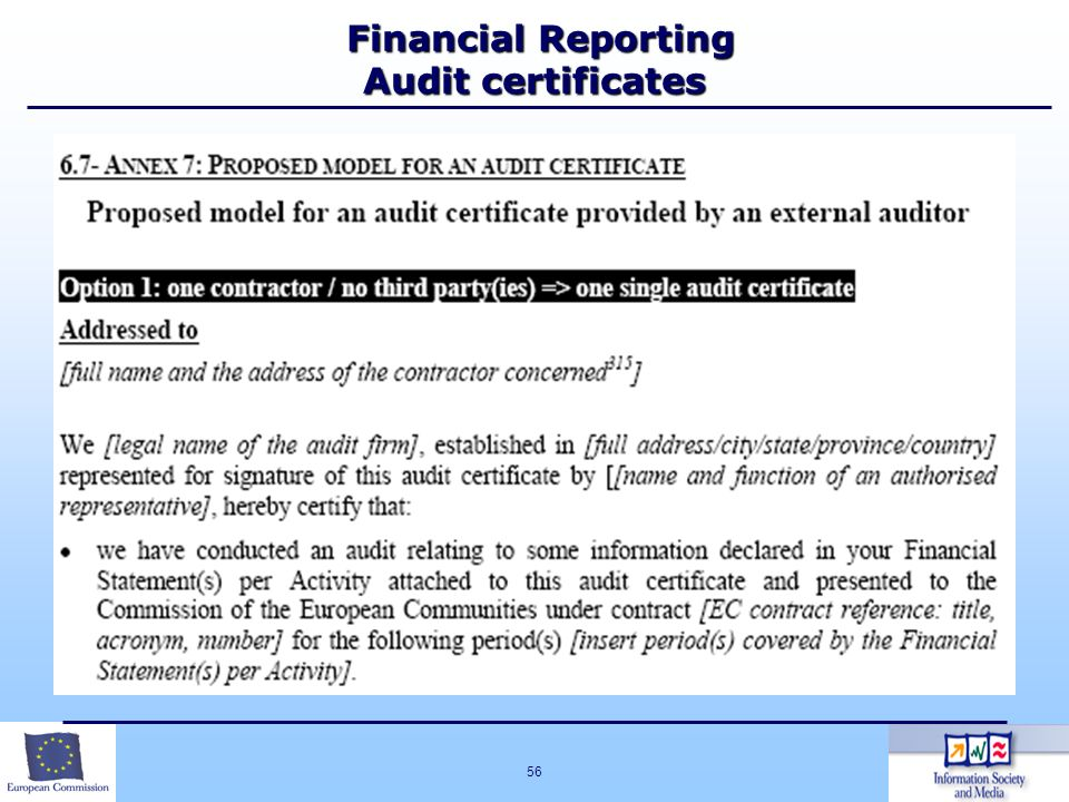 Financial Reporting Audit certificates