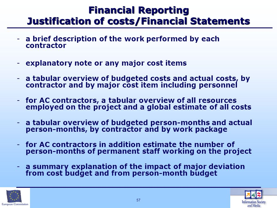 Financial Reporting Justification of costs/Financial Statements