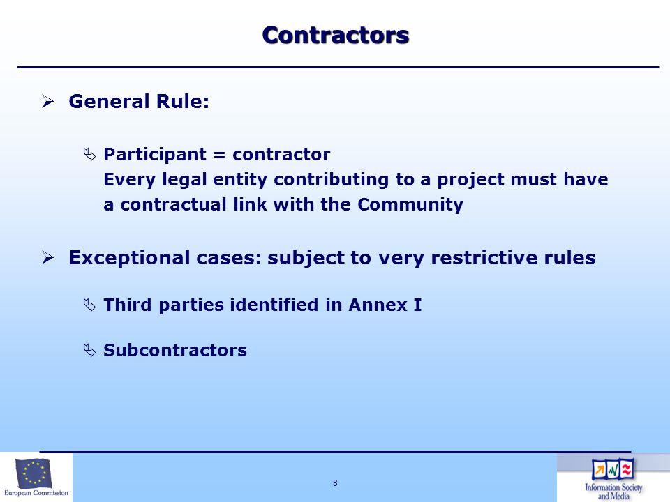 Contractors General Rule:
