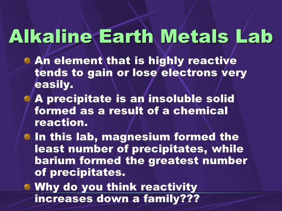 Alkaline Earth Metals Lab