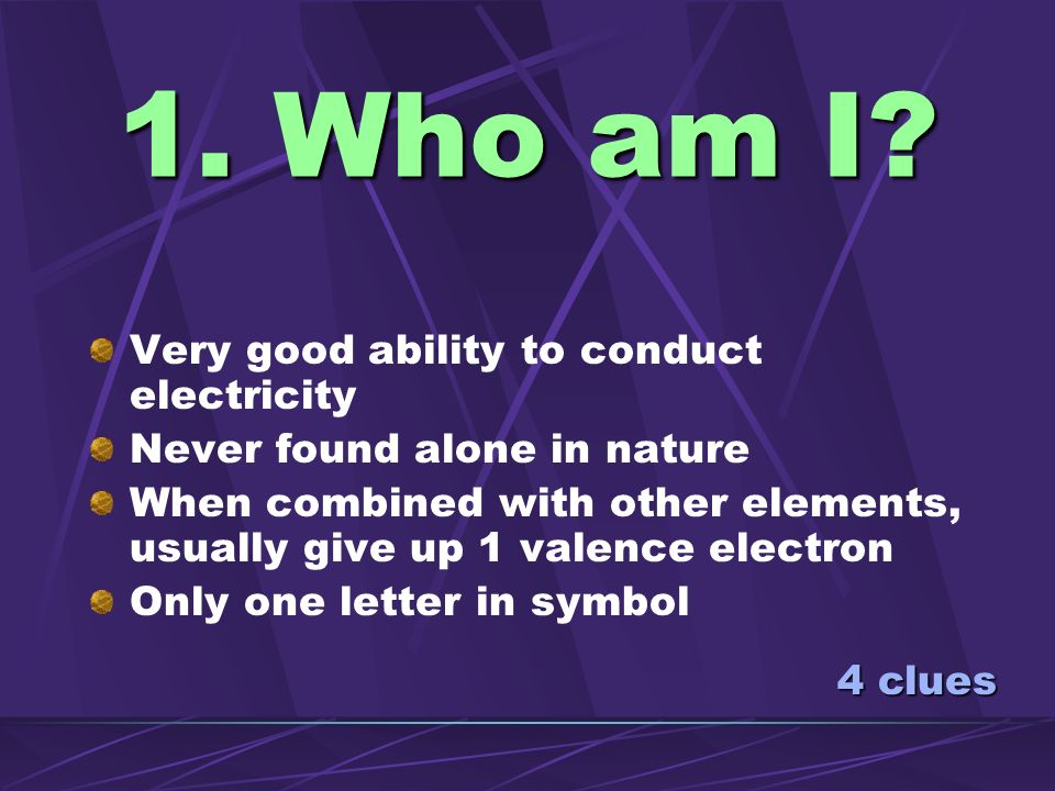 1. Who am I Very good ability to conduct electricity