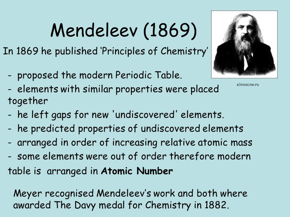 Periodic Table mendeleevs periodic table helped predict properties of : HC HC (B) Periodicity History and trends of the periodic table ...