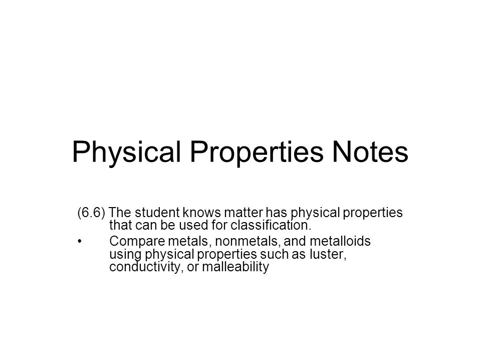 Periodic Table physical properties of elements on the periodic table luster : Physical Properties Notes - ppt video online download