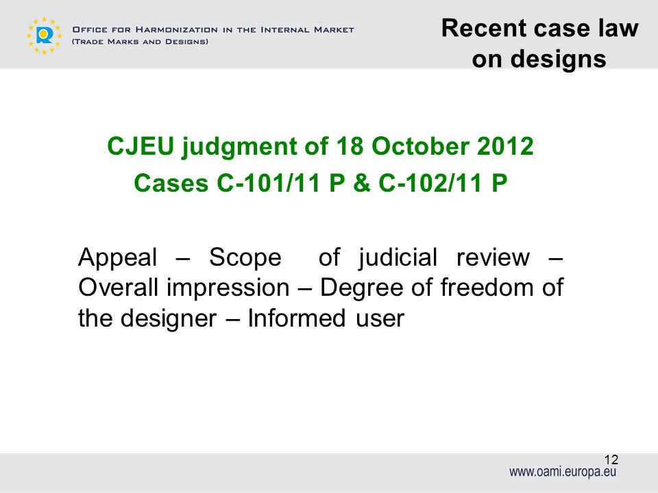 Recent case law on designs CJEU judgment of 18 October 2012