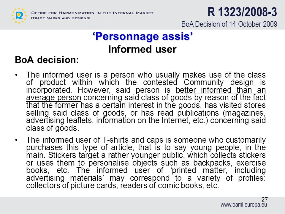 'Personnage assis' Informed user