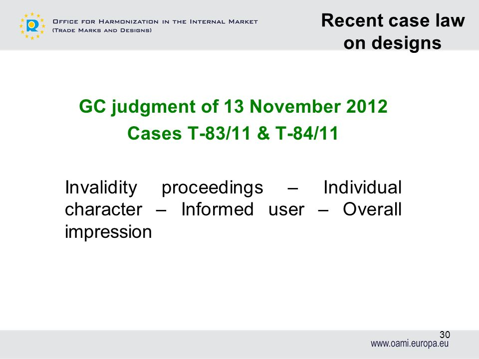 Recent case law on designs GC judgment of 13 November 2012