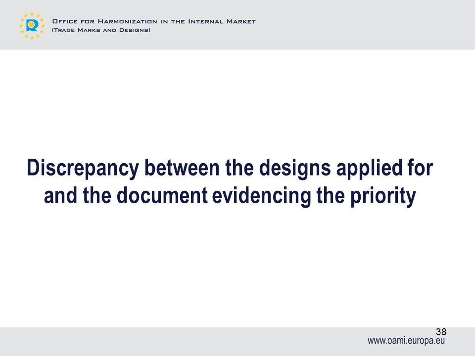 Discrepancy between the designs applied for and the document evidencing the priority