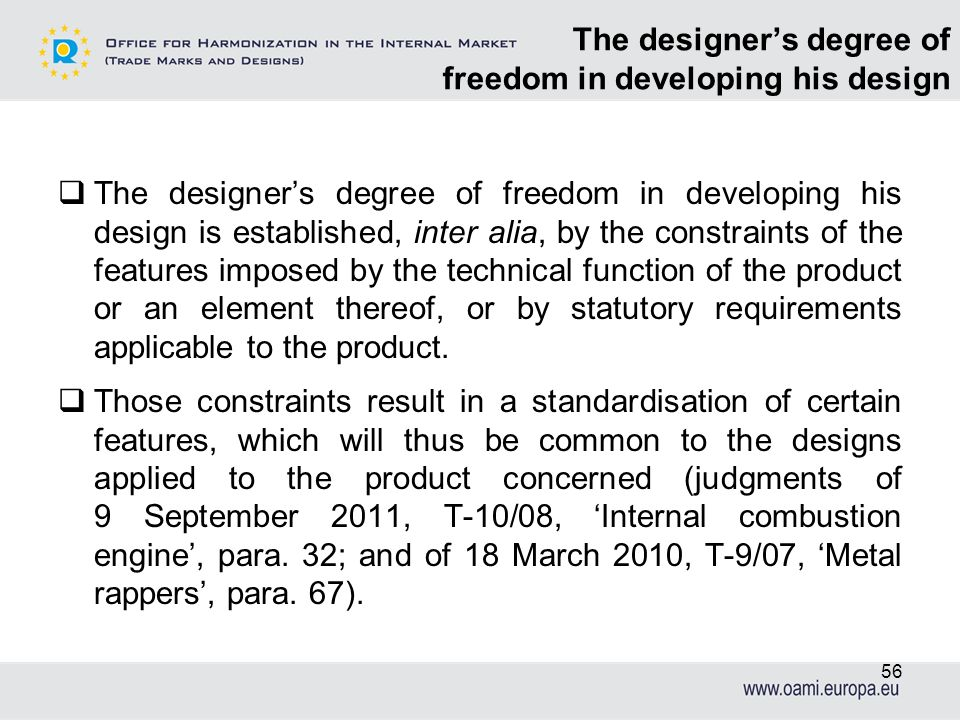 The designer's degree of freedom in developing his design
