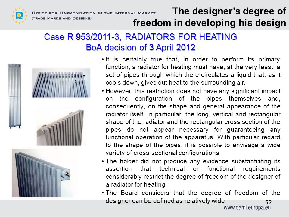 Case R 953/2011-3, RADIATORS FOR HEATING