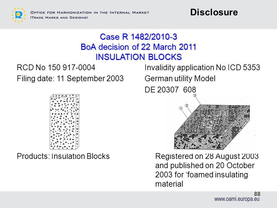 Disclosure Case R 1482/2010-3 BoA decision of 22 March 2011