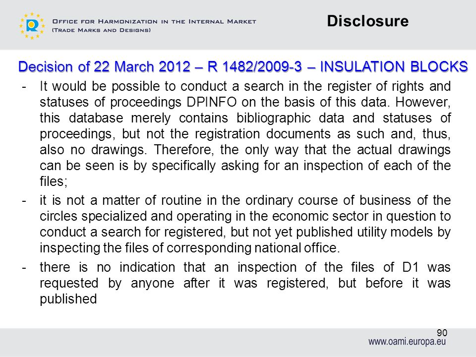 Decision of 22 March 2012 – R 1482/2009-3 – INSULATION BLOCKS