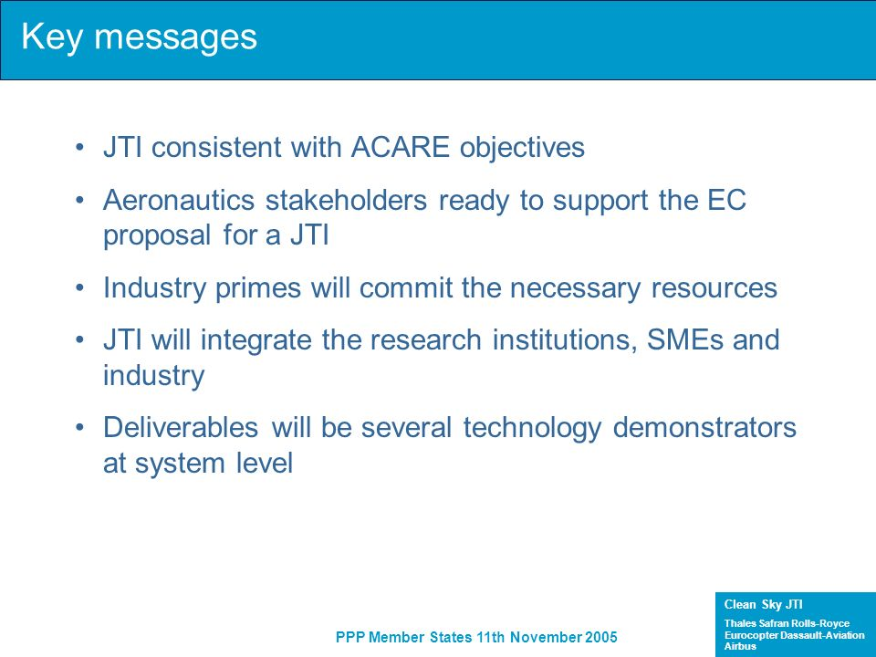 Key messages JTI consistent with ACARE objectives