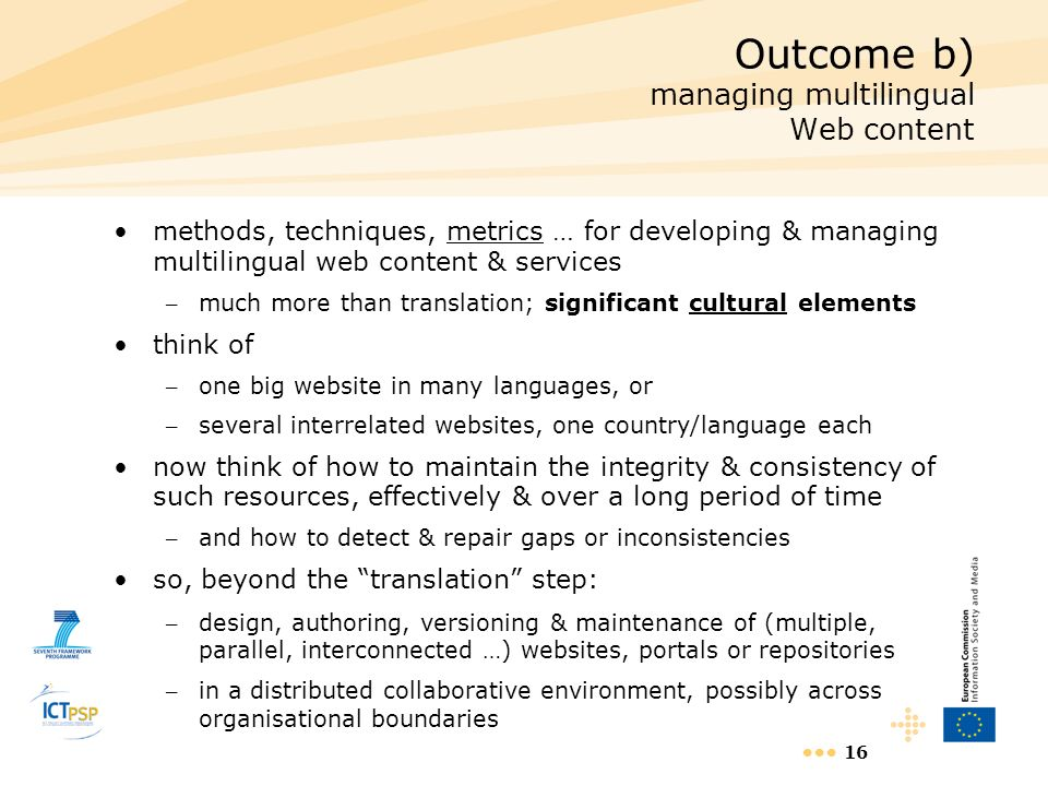 Outcome b) managing multilingual Web content