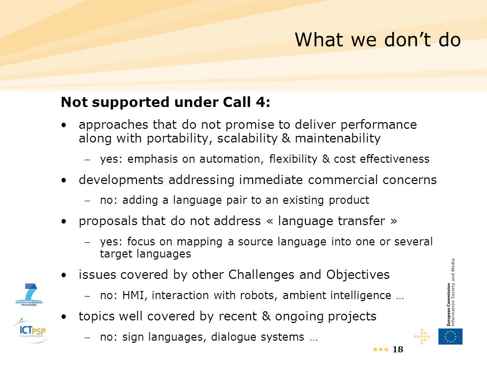 What we don't do Not supported under Call 4:
