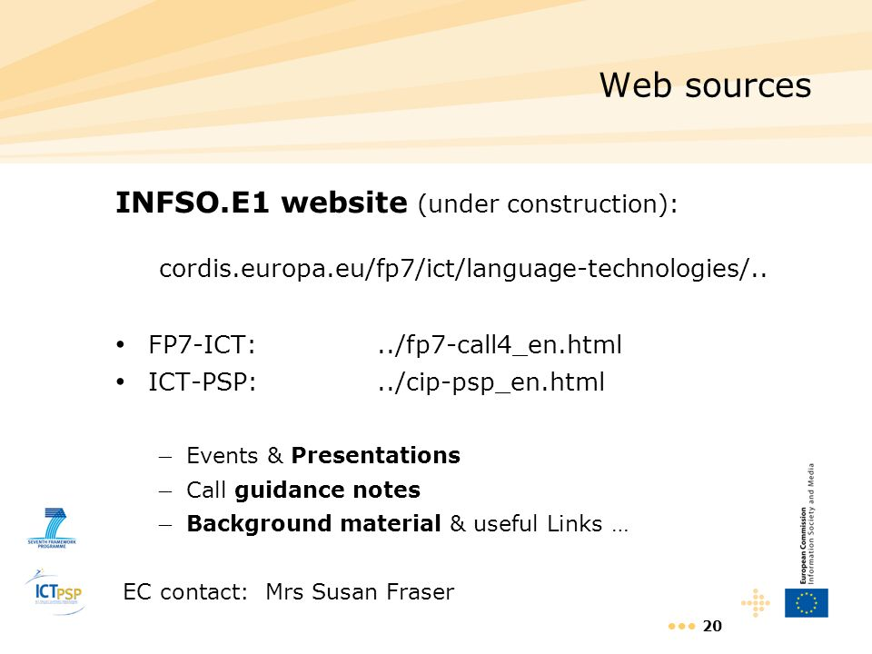 Web sources INFSO.E1 website (under construction):