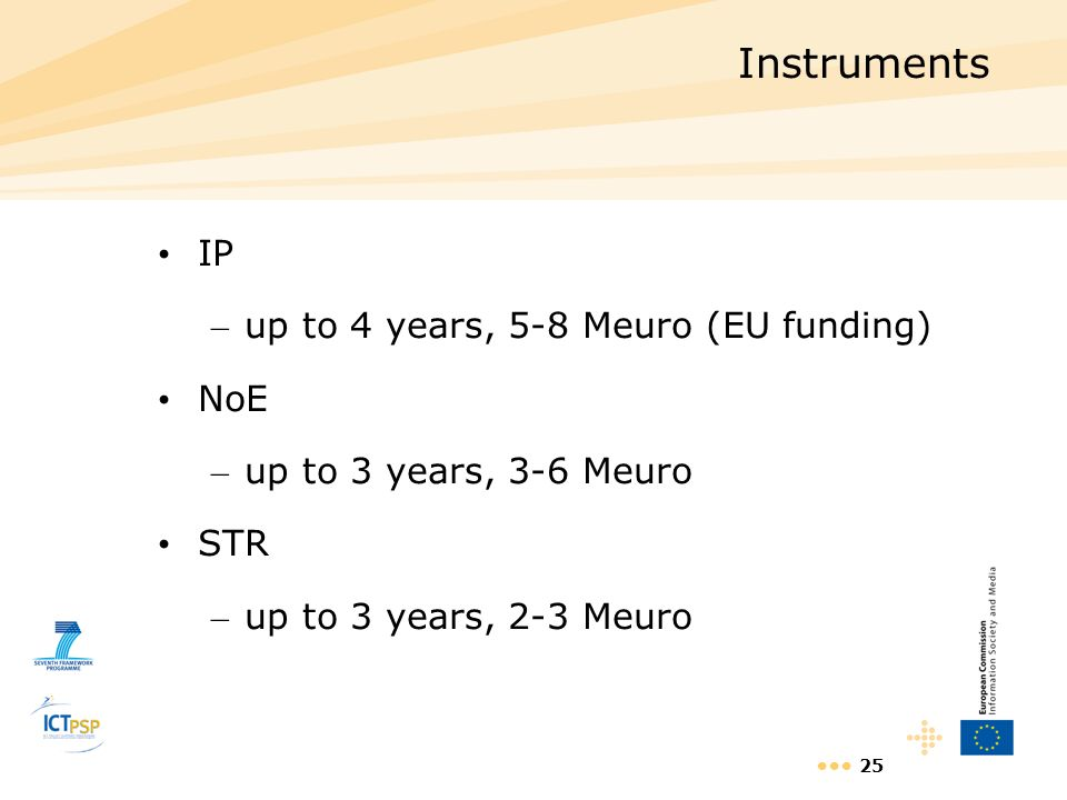 Instruments IP up to 4 years, 5-8 Meuro (EU funding) NoE
