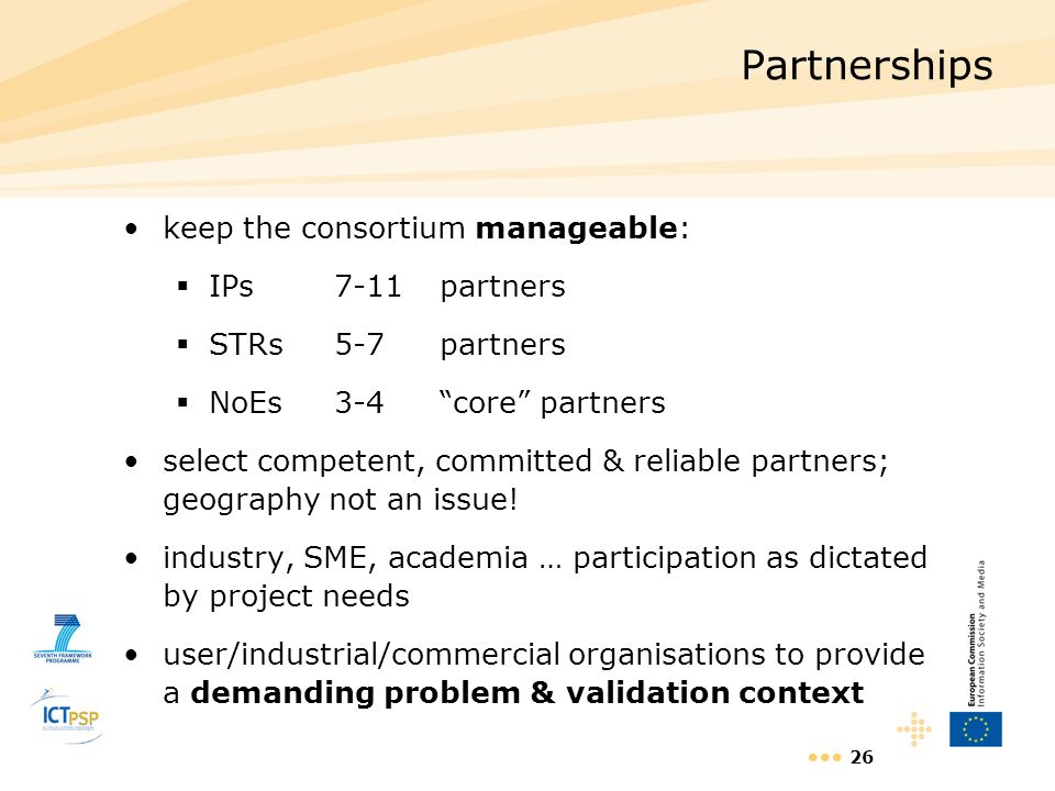 Partnerships keep the consortium manageable: IPs 7-11 partners
