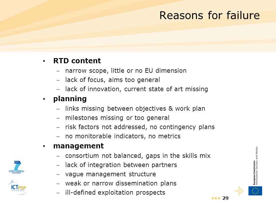 Reasons for failure RTD content planning management