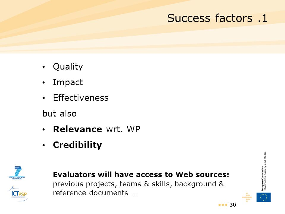 Success factors .1 Quality Impact Effectiveness but also